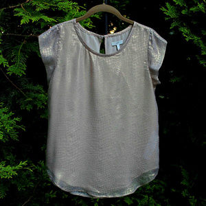 Pretty Joie Cap-Sleeve Blouse in Shimmery Gold